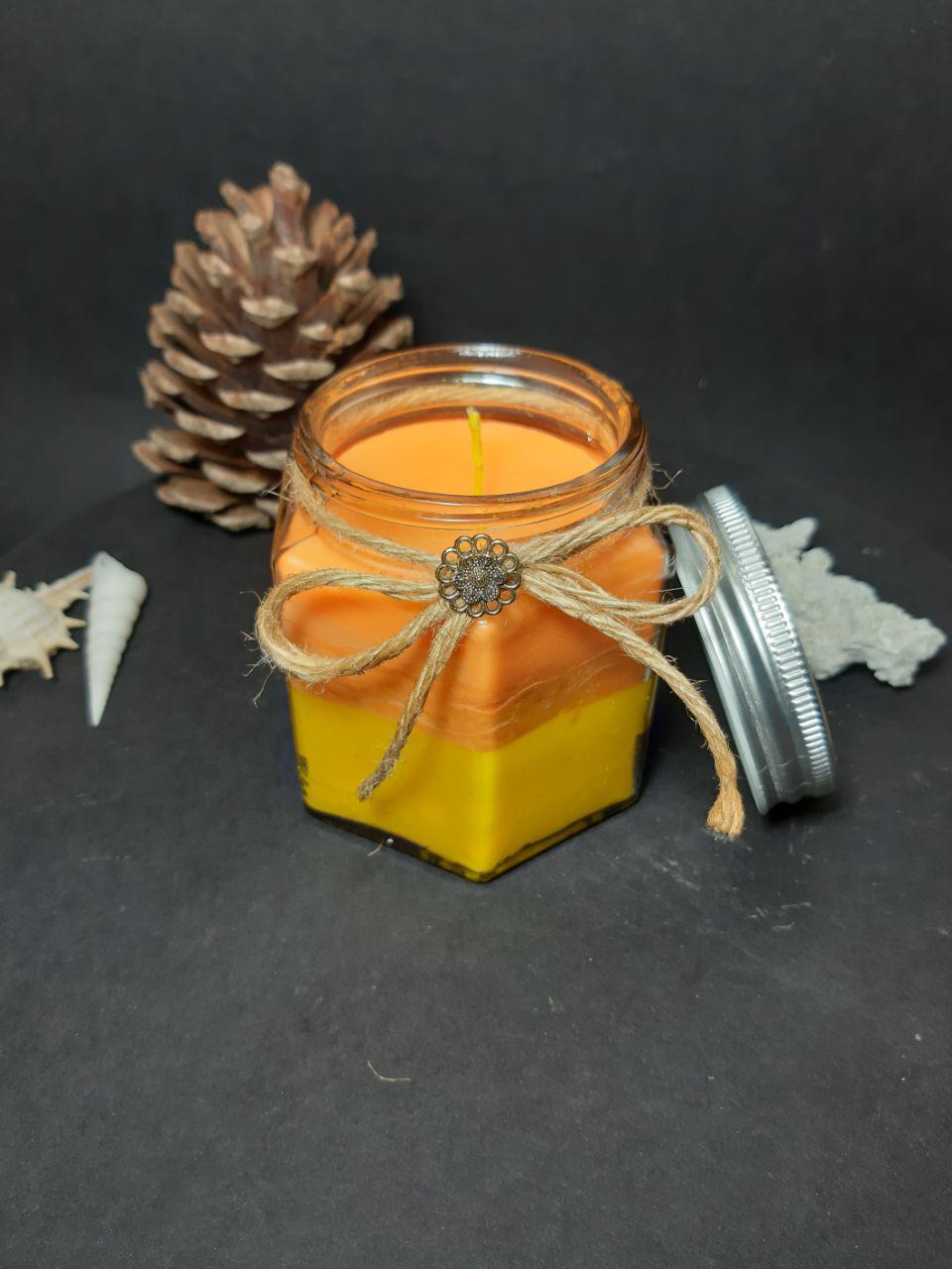 شمع با ظرف شیشه ای