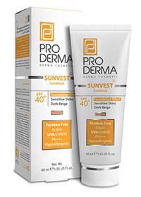 کرم ضد آفتاب فاقد جاذب های شیمیایی با +SPF40 پوشش کرم پودری (بز تیره )پرودرما
