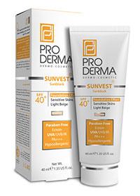 کرم ضد آفتاب فاقد جاذب های شیمیایی با +SPF40 پوشش کرم پودری (بز روشن) پرودرما