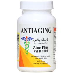 سافت ژل زینک پلاس ویتامین دی 1000 آنتی ای جینگ