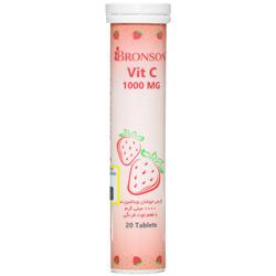 قرص جوشان ویتامین سی 1000 میلی گرم با طعم توت فرنگی برونسون