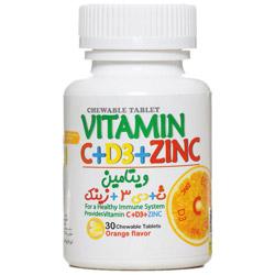 قرص جویدنی ویتامین سی به همراه د3 و زینک گنجینه سلامت تارا