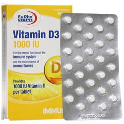 قرص ویتامین د3 یورو ویتال 1000 واحدی