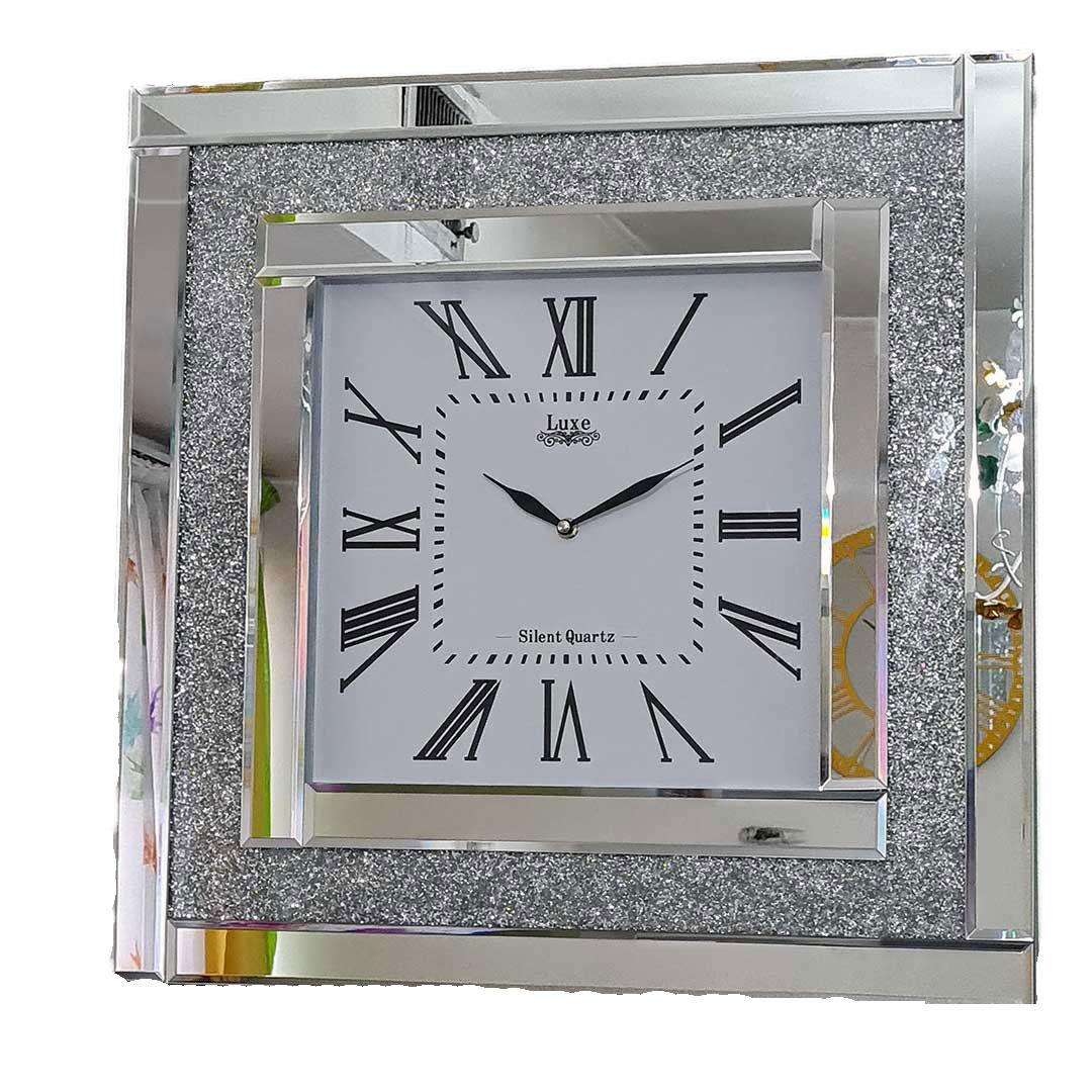 ساعت دیواری آینه ای نگین دار مربع مدل لوکس بسیار زیبا و جذاب در دو رنگ مختلف نقره ای و برنز قطر 60 سانت